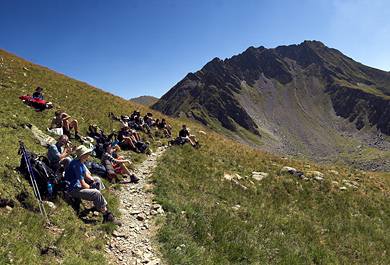 Hikers in Fagaras mountains