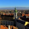 View over Sibiu city to Fagaras mountains
