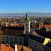 View over Sibiu city to Fagaras mountains