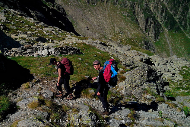 Hiking in Carpathian mountains Romania Fagaras range