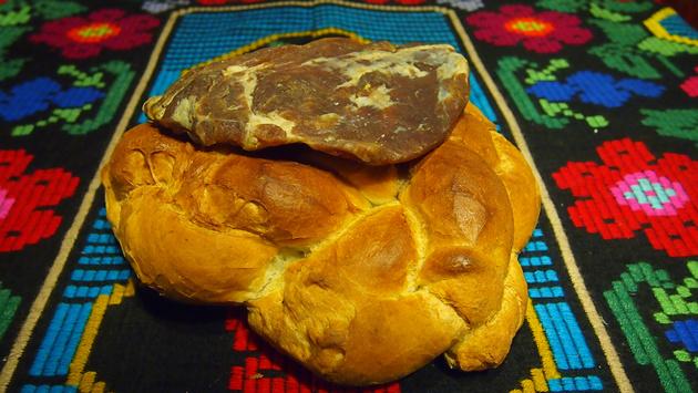 Christmas bread and smoked pork meat in Ucea de Sus village, Fagaras county