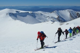 Ski touring in Greece, climbing Skolio peak in Olympus mountains