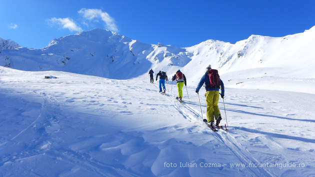 Ski touring trip in Carpathian mountains, Romania