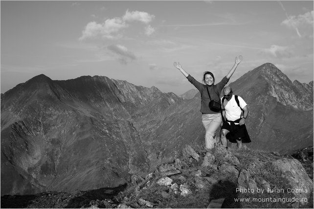 Climbing Moldoveanu peak in Fagaras mountains